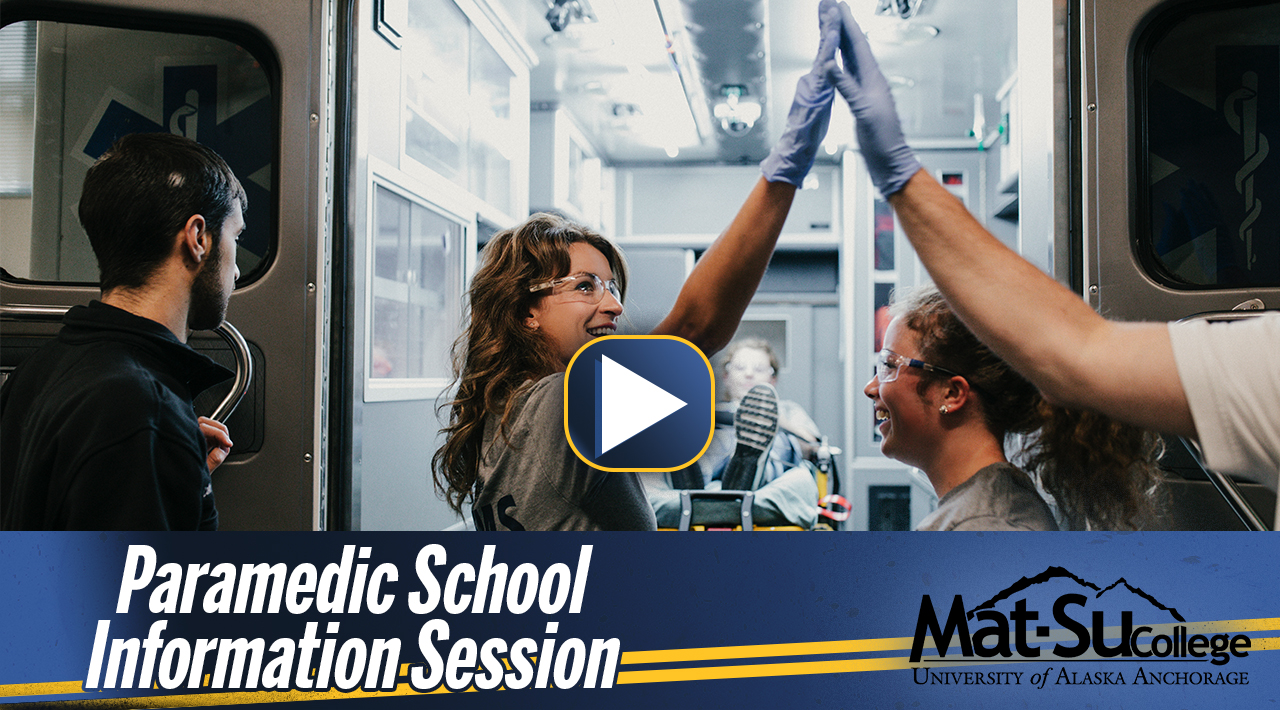 "Image with paramedic student high fiving professor with the words ""Paramedic School Information Session"""