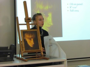 Student Showcase presentation with oil pastel painting