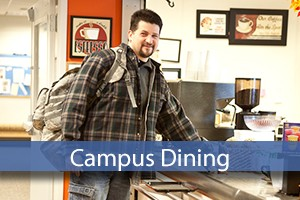 campus dining with student in cafeteria