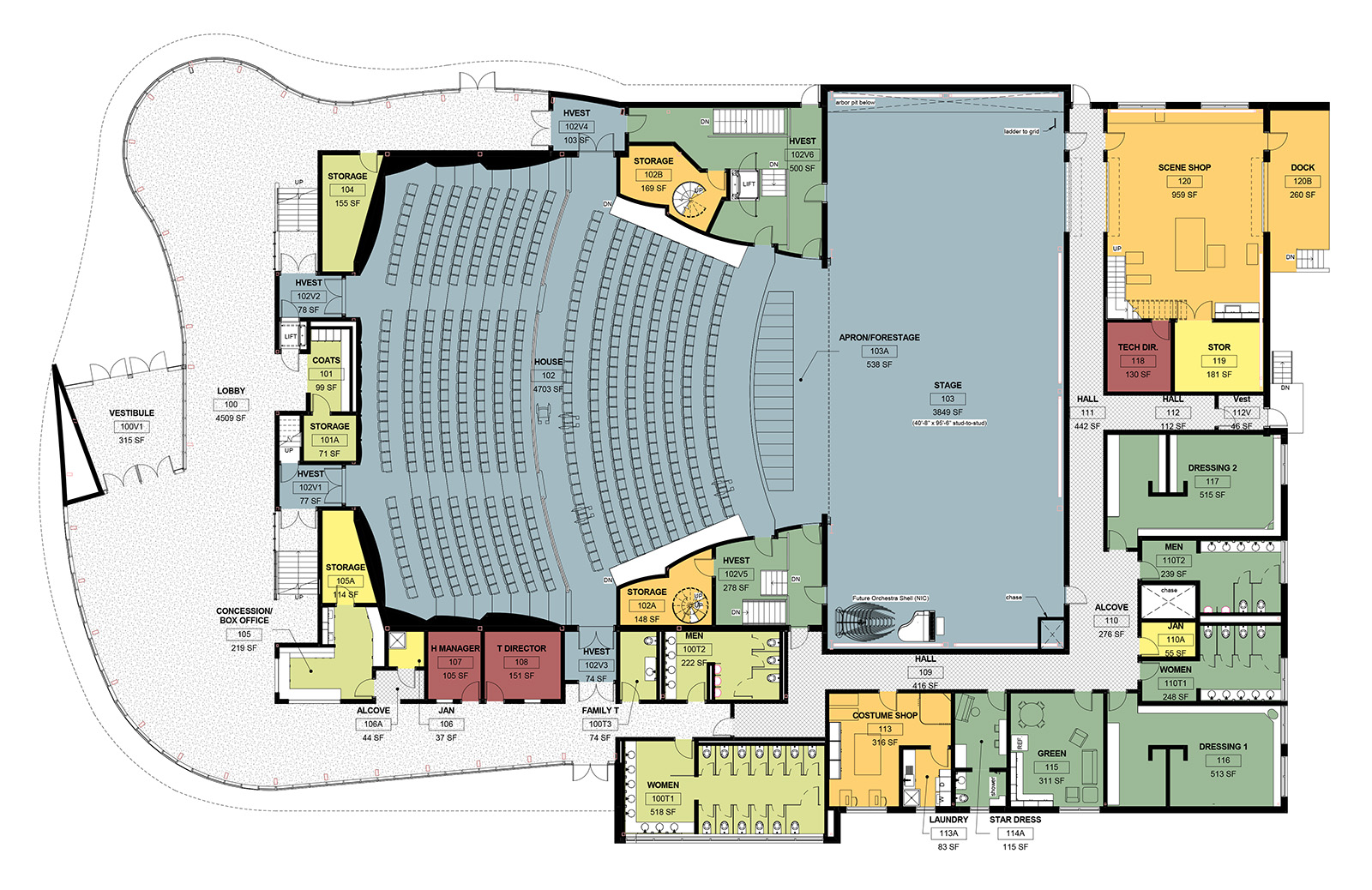 Glenn Massay Theater Floorplan