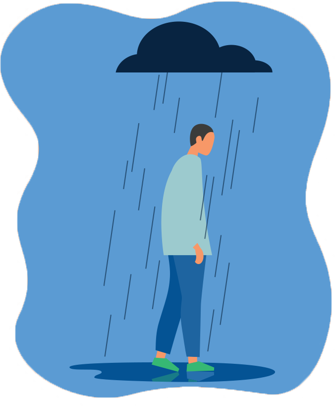 illustration of student being rained on