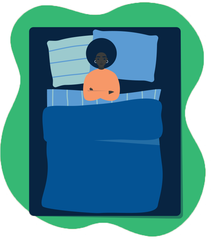 illustration of a student resting in bed