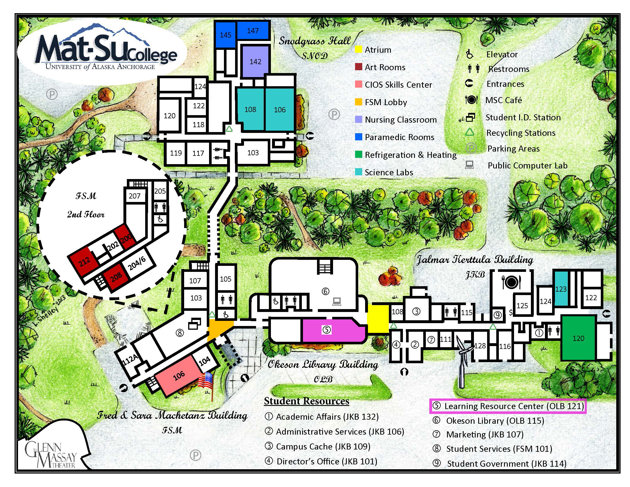 Map of Mat-Su College with Learning Resource Center highlighted